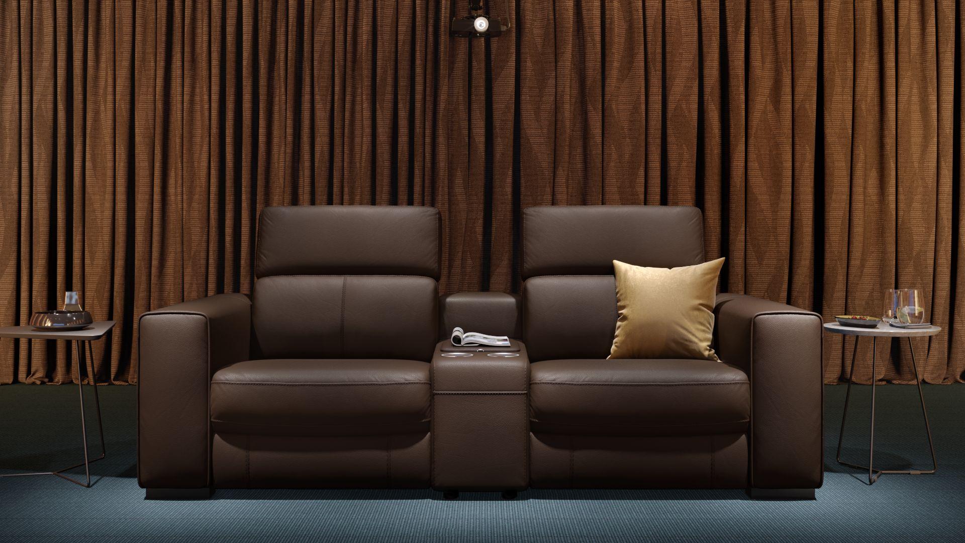Leder 2-Sitzer Kinosofa mit einer Mittelkonsole BOVINO