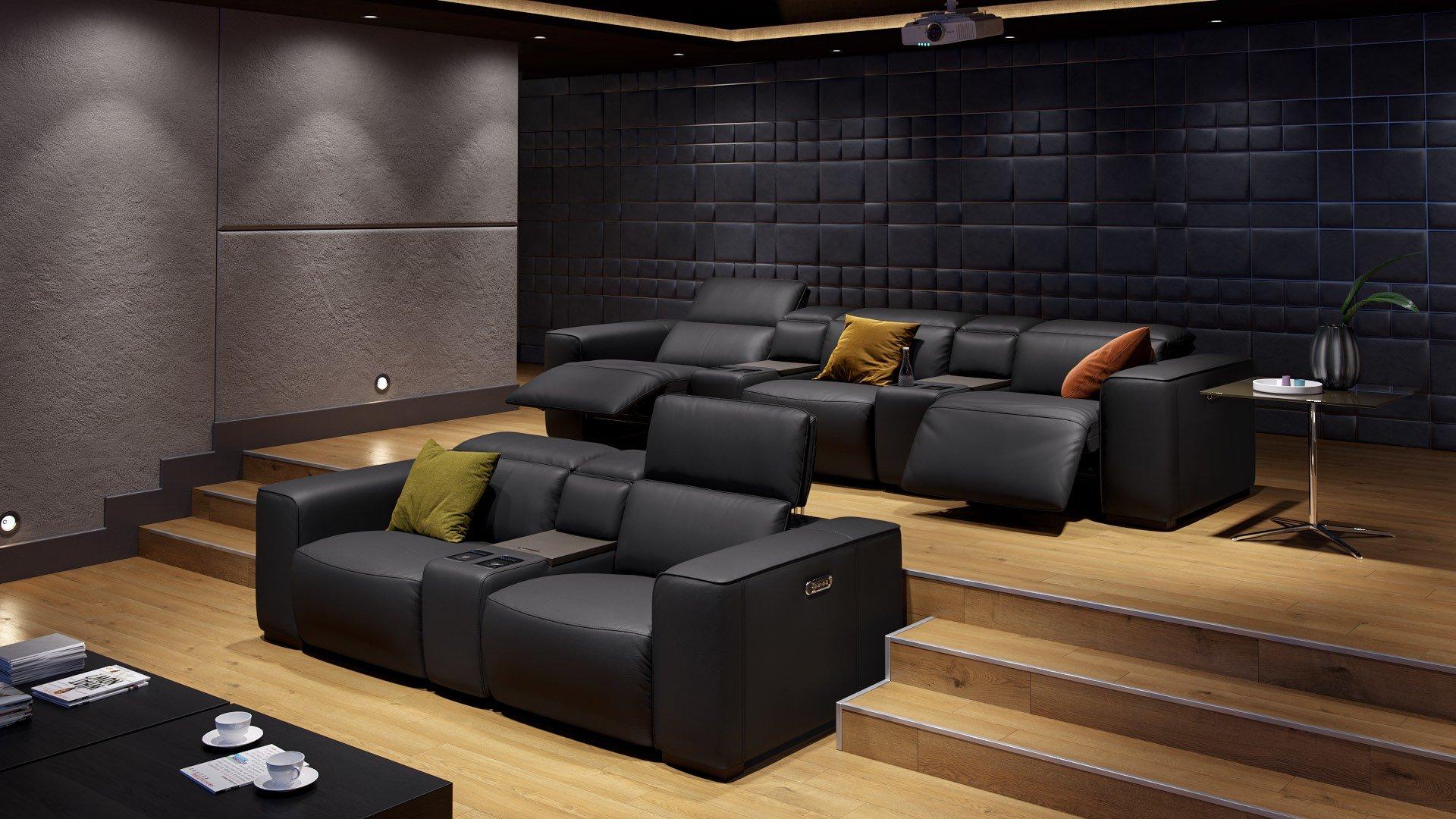 Leder 2-Sitzer Kinosofa mit einer Mittelkonsole BINETTO
