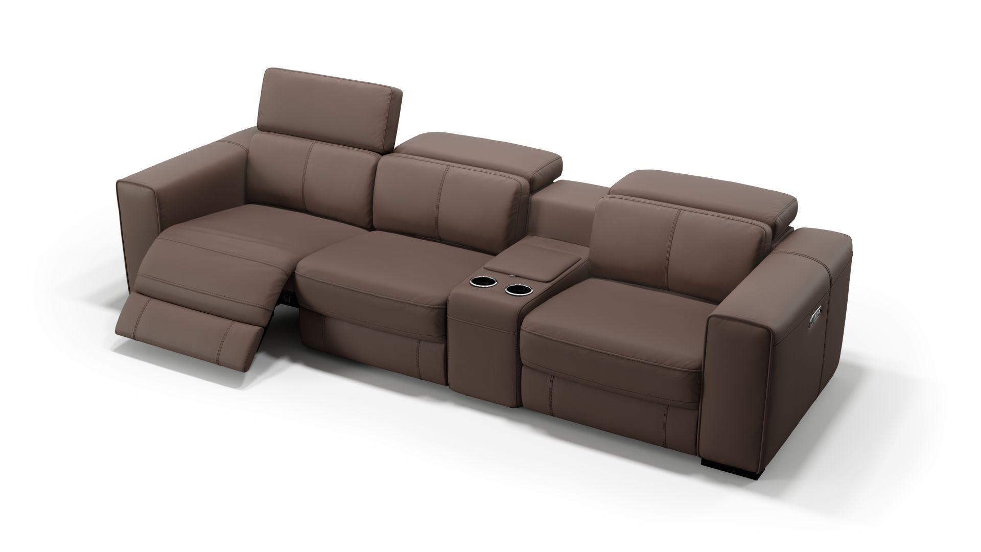 Leder 3-Sitzer Kinosofa mit einer Mittelkonsole BOVINO