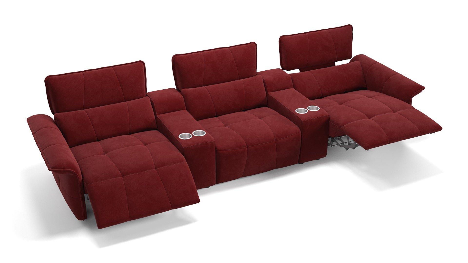 Stoff 3-Sitzer Kinosofa mit zwei Mittelkonsolen ADRIA